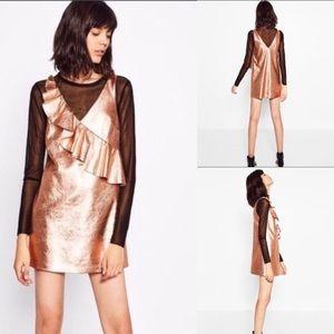 NWT Zara Trafaluc rose gold metallic ruffle dress